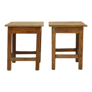 Pair of Vintage Rustic Wood Side Tables For Sale