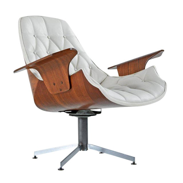 Tufted White Leather Plycraft George Mulhauser Horn Chair For Sale