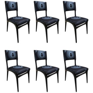Carlo De Carli Chairs Set of Six Reupholstered With Fabric by Fornasetti For Sale