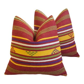 """Chic Turkish Kilim Carpet Feather/Down Pillows 20"""" Square - a Pair For Sale"""