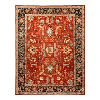 One-Of-A-Kind Oriental Serapi Hand-Knotted Area Rug, Crimson, 9' 1 X 11' 8 For Sale
