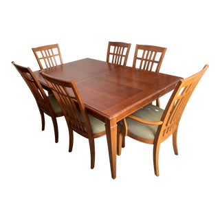 Thomasville Mid-Century Modern Dining Room Bridges Table & Chairs For Sale