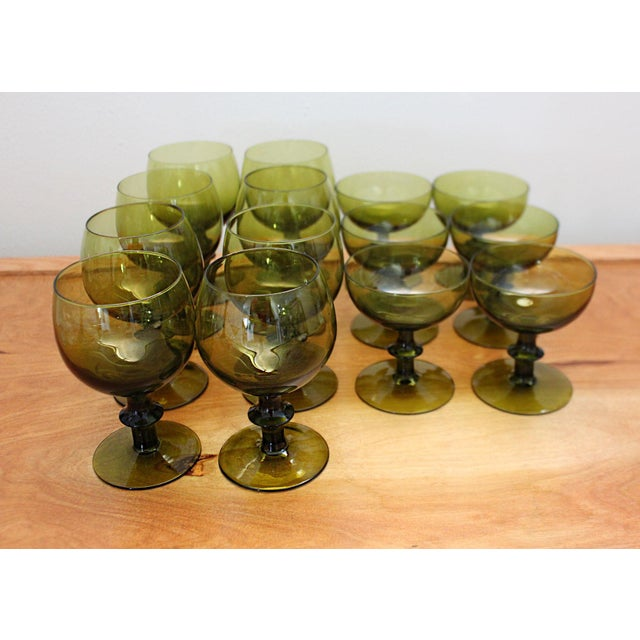 Italian 1960s Mid-Century Modern Olive Green Goblets by Hoffman House Set - 14 Pieces For Sale - Image 3 of 6