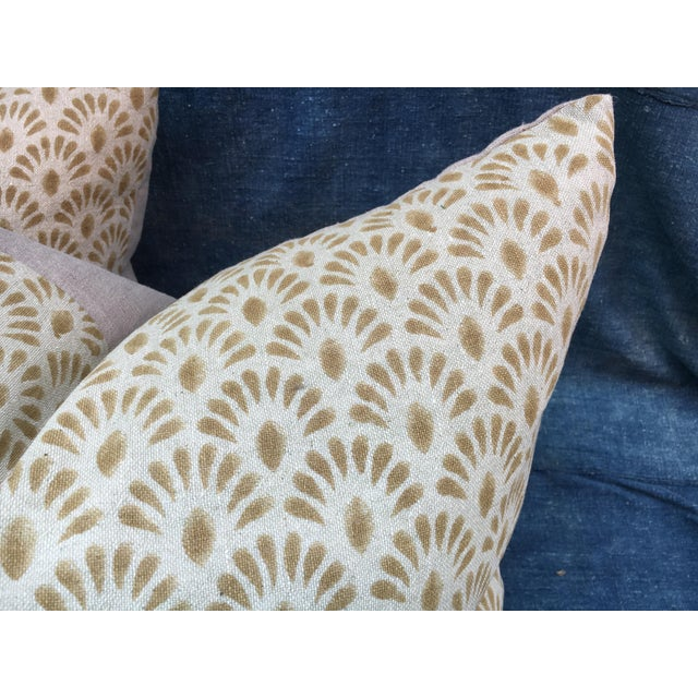 Pair of fabulous custom pillows made with a wonderful hand blocked linen textile from India. New neutral linen backing...