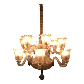 1940s 12-Light Venetian Hand-Blown Glass Chandelier For Sale