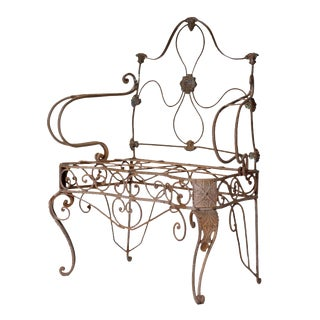 Early 18th Century Wrought Iron Garden Seat For Sale