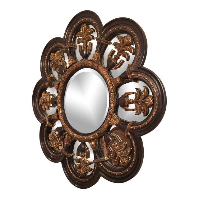 New Orleans Style Large Wood Wall Mirror For Sale