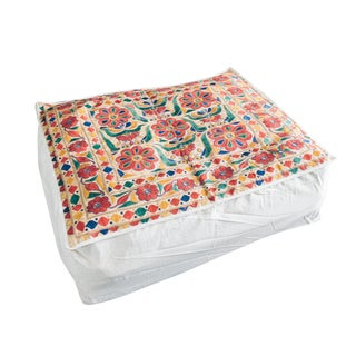1970s Vintage Indian Embroidered Floor Cushion Double Wide Pouf For Sale