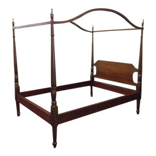 1970s Traditional Cherry Wood Full Size Canopy Bed For Sale