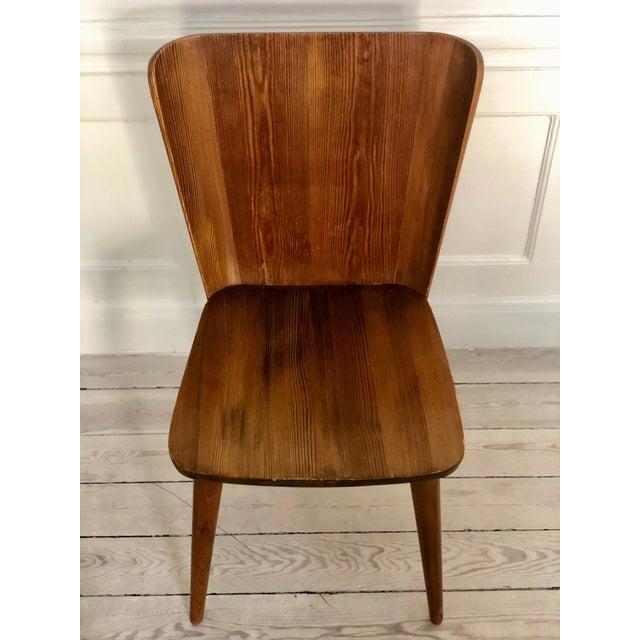 Mid-Century Modern Set of 4 Goran Malmvall Swedish Pine Chairs, Svensk Fur, Sweden, 1940s For Sale - Image 3 of 8