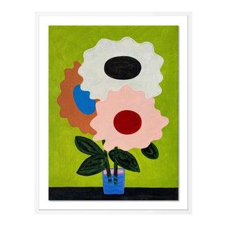 Spring Flowers by Jelly Chen in White Framed Paper, Medium Art Print For Sale