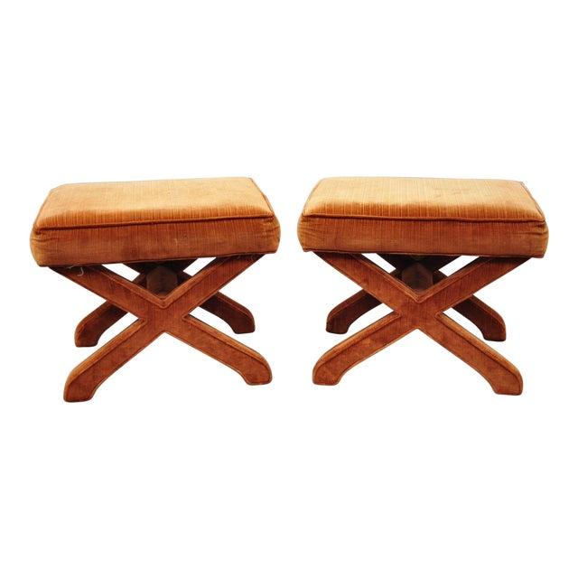 Vintage Mid Century Orange X-Base Frame Upholstered Hollywood Regency Stools- A Pair For Sale