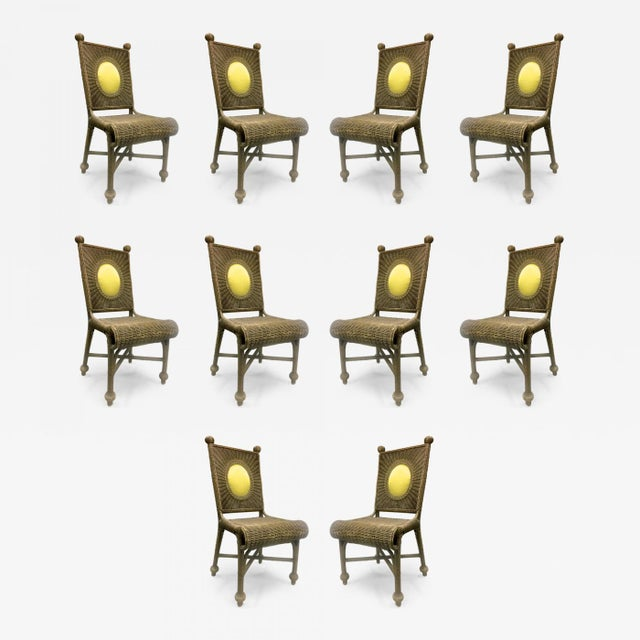 Rattan Set of 10 Rare 1940s Rattan Dining Chairs in Vintage Condition For Sale - Image 7 of 7