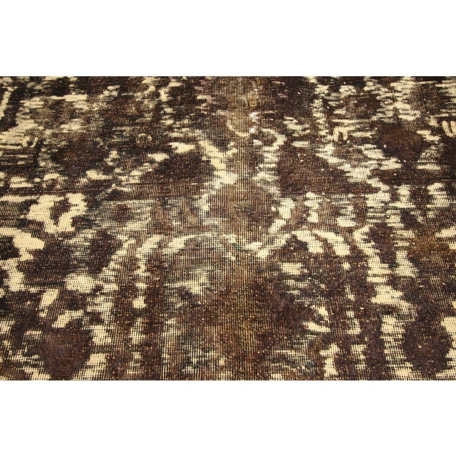 1960s Overdyed Distressed Vintage Turkish Rug With Modern Style and Bone Inlay Design For Sale - Image 5 of 7