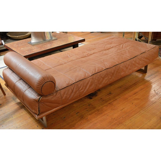 Mid-Century Modern Mid Century Italian Modernist Faux Leather Daybed For Sale - Image 3 of 13