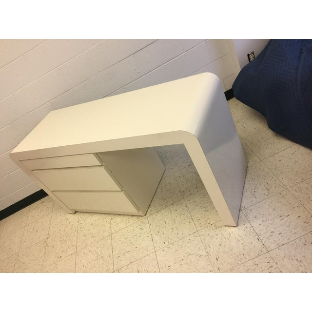 Vintage White Lacquer Waterfall Desk For Sale In Charlotte - Image 6 of 9