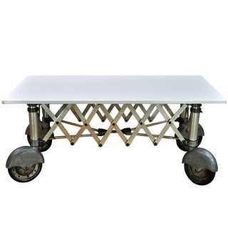 1930s Vintage Industrial Vitrolite White Milk Glass Slab Coffin Table For Sale