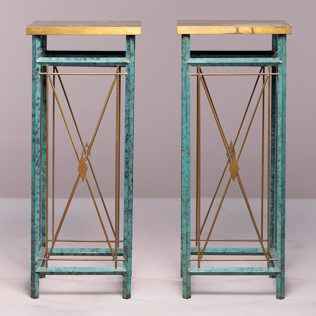 Neoclassical Style Verde Green Metal Statue Stands - a Pair For Sale - Image 13 of 13