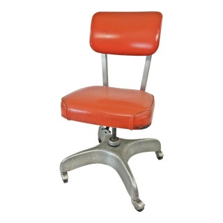 Vintage Industrial Orange Swivel Office Chair by Cole Steel For Sale