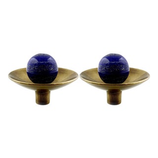Addison Weeks Gibson Knob, Antique Brass & Lapis - a Pair For Sale