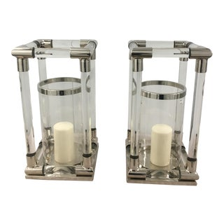 Small Contemporary Candle Hurricanes- a Pair