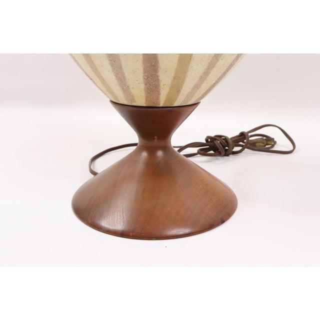 Vintage 1970s Mid Century Modern Striped Ceramic Teak Wood Table Lamp For Sale - Image 4 of 9
