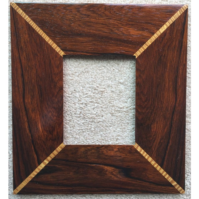 Custom Handmade Exotic Wood Inlaid Frame - Image 2 of 5