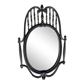 1960s Federal Style Black Metal Wall Mirror For Sale