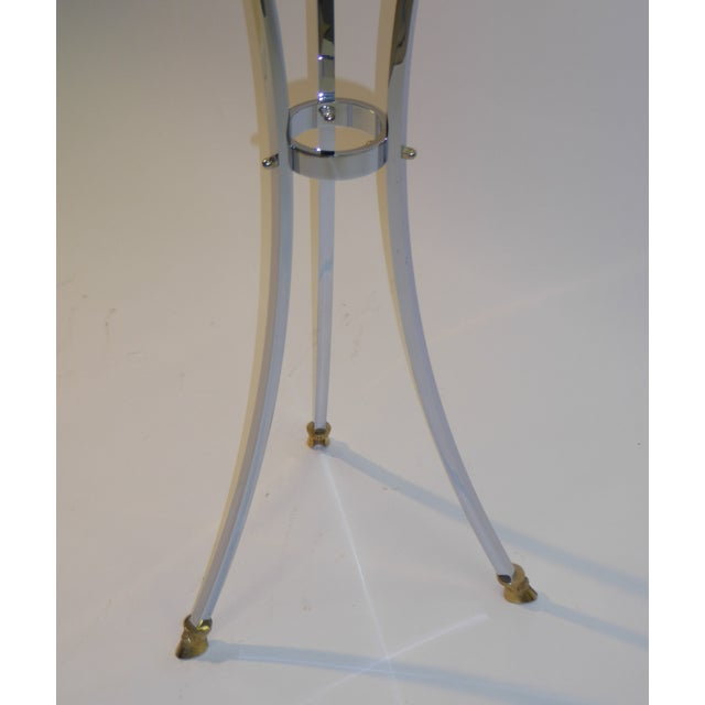 Maison Jansen Empire Style Chrome and Brass Pedestal Table For Sale In Miami - Image 6 of 12