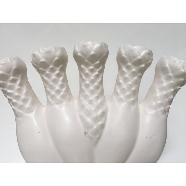 1970s Traditional White Bisque Five Finger Vase For Sale - Image 4 of 10