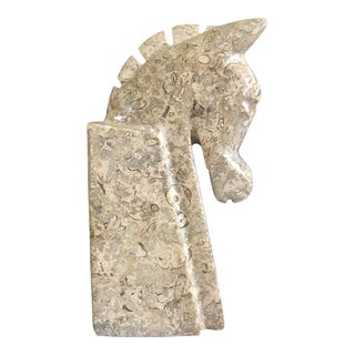 Vintage Mid-Century Stone Horse Head Bookend For Sale