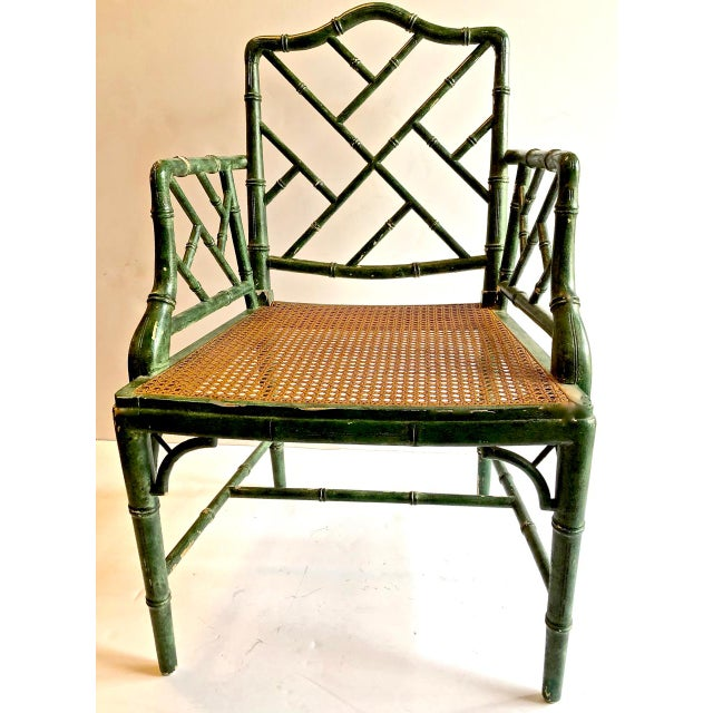 Asian Chinese Chippendale Faux Bamboo Armchairs - Set of 6 For Sale - Image 3 of 11