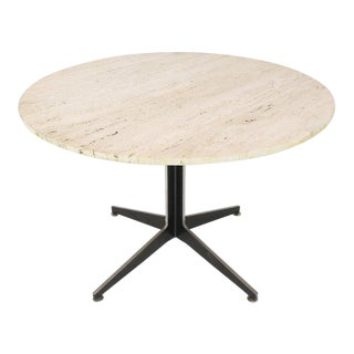 Round Travertine Top Fabricated Aluminium X-Base Cafe Dining Table For Sale