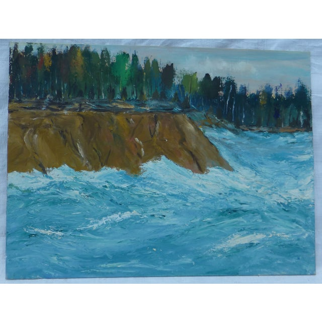 MCM Oil Painting of New England Ocean - Image 2 of 6