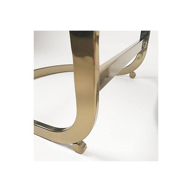 Brass Milo Baughman Style Brass Cantilever Stools - A Pair For Sale - Image 7 of 10