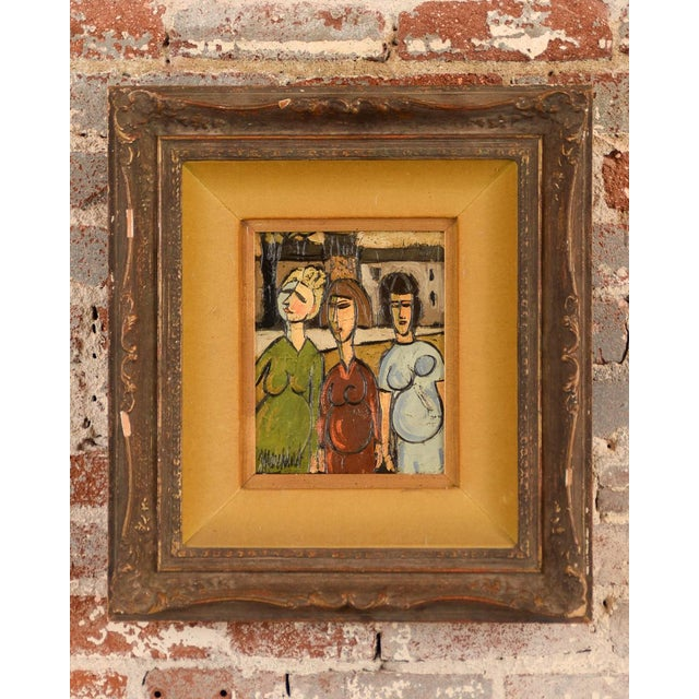 """Offered is a cubist oil painting on canvas of 3 pregnant women. Size 8x10 Frame size 19x21"""" Biography : Philippe Marchand..."""