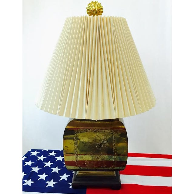Vintage Mid Century etched brass lamp with Asian style detail. Original lampshade & brass shell finial. Brass shows some...