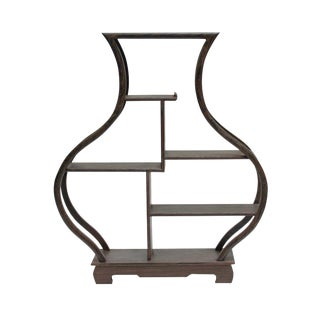 Gray Brown Wood Vase Shape Small Table Top Curio Display Easel Stand
