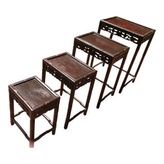 Asian Wooden Nesting Tables - Set of 4 For Sale