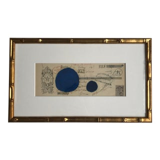 Abstract Pastel on Vintage Paper French Bank Note #4, Framed For Sale