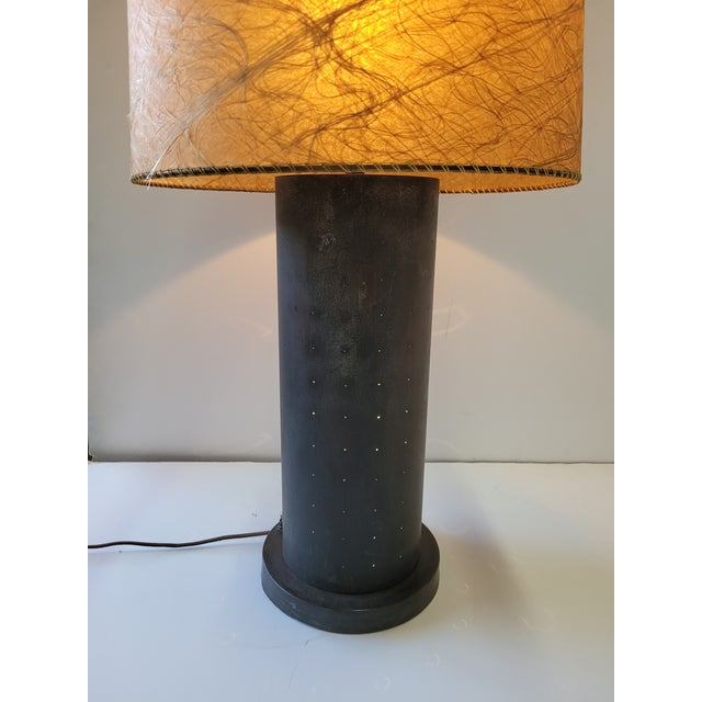 Metal 1960s Mid-Century Table Lamp With Pinhole Lights & Vintage Shade For Sale - Image 7 of 9