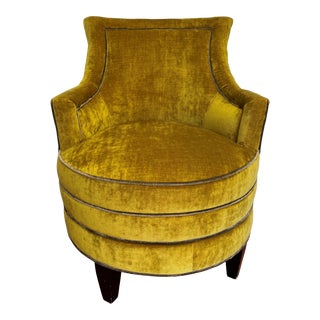 Custom Traditional Velvet Swivel Lounge Chair For Sale