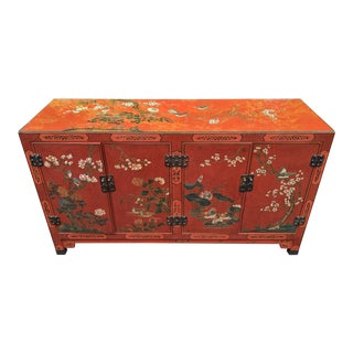 Antique Chinese Hand-Etched & Painted Red Lacquer Glass Top Console Cabinet For Sale
