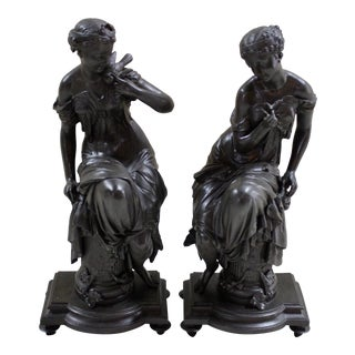 Late 19th Century Bronze Finish Spelter Maidens - A Pair