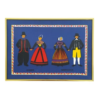 Vintage Boho Chic Framed Danish Tapestry Blue With Male Female Figures For Sale
