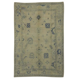 Modern Turkish Oushak Rug with Transitional Style in Coastal Colors For Sale