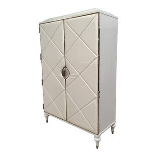 Caracole Furniture Pearly White Opal & Gold Armoire With Usb & Outlets Built In. For Sale