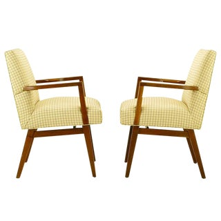Carved Walnut & Upholstered Arm Chairs After Wormley - a Pair For Sale