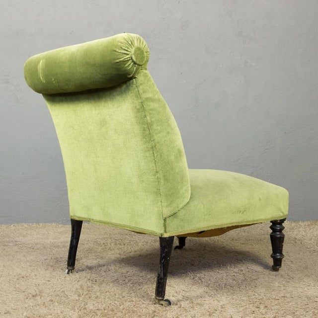 Napoleon III Napoleon III Slipper Chair in Green Velvet For Sale - Image 3 of 10