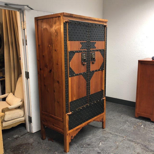 Vintage Wood & Iron Metal Work Armoire | Chairish